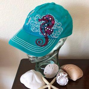 Turquoise Seahorse Baseball Cap